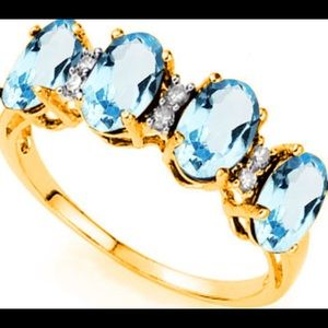 Jewelry - Blue Topaz and Diamond Ring