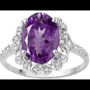 Jewelry - Floral Lavender Amethyst and Diamond Ring