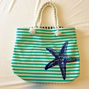 Handbags - Sea Shell Beach Bag Blue & White Stripe