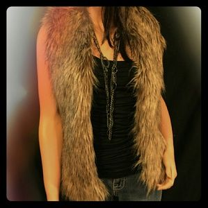 collection XIIX Jackets & Blazers - Brown Faux Fur Vest with pockets
