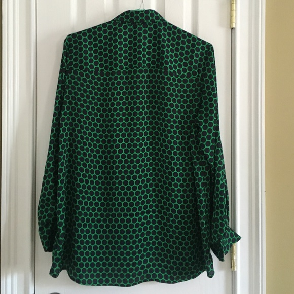 MICHAEL Michael Kors Tops - Drop 4 CCO! Never Worn! Green with Navy Dot Blouse
