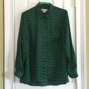 Drop 4 CCO! Never Worn! Green with Navy Dot Blouse
