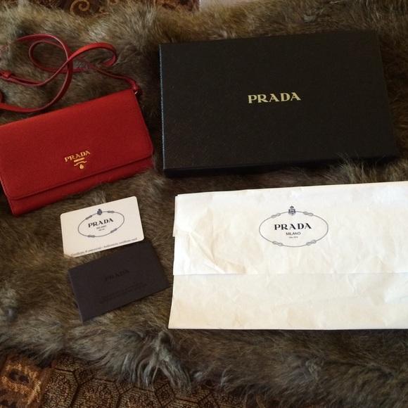f87883f7d5c063 Prada Bags | 1m1437 Red Leather Clutch Wallet W Gold Hard | Poshmark