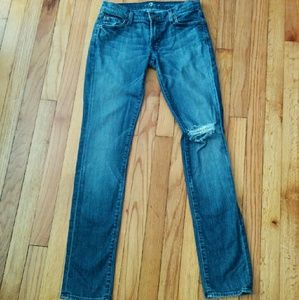 7 for all Mankind Denim - 7 for all mankind distressed roxanne skinny jean