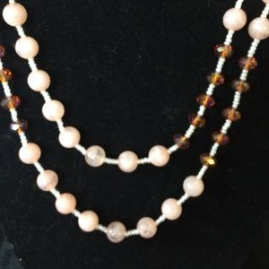 Cookie Lee Jewelry - Long rose quartz look necklace with gold chain!