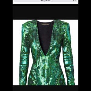 Balmain x H&M Green Sequin Cocktail Dress