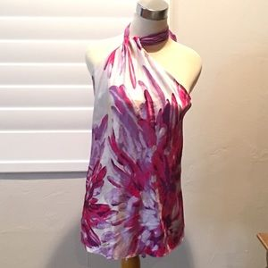 Just Cavalli multi color silk halter top 42/6 NWT