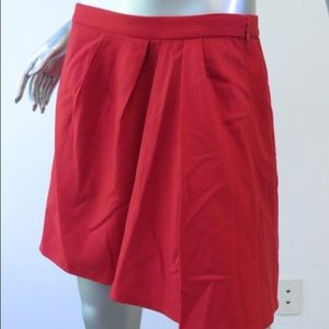 J. Crew Red Side Pleat Skirt