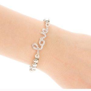 Silver beaded Love bracelet