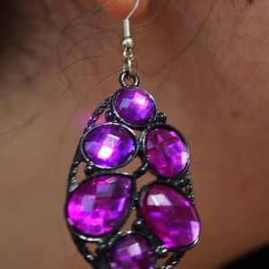 Forever 21 Jewelry - Forever 21 Purple Gem Tear Drop Earrings