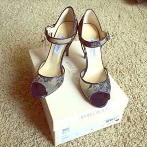 Jimmy Choo Shoes - Authentic Jimmy Choo, Mary Jane LACE heel, navy