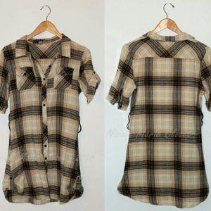 Dresses & Skirts - Plaid Mini Dress Shirt Blouse Brown Chic Work