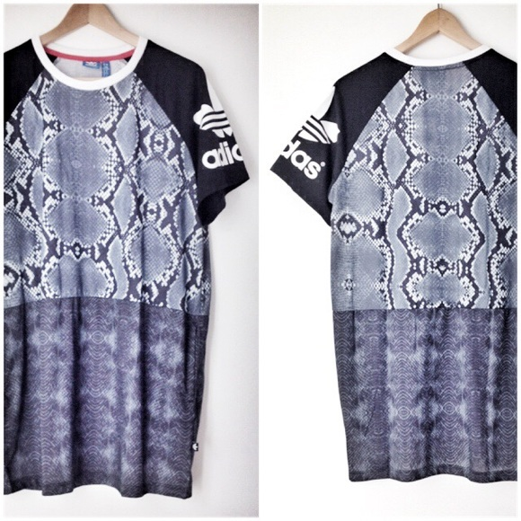 0b1413f5afb Adidas Originals T Shirt Dress With Trefoil Logo & Sheer Snake Print ...