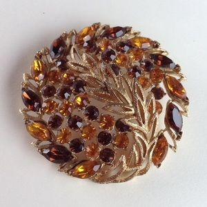 Vintage Jewelry - Vintage Signed Coro Autumn Feather Rhinestone Pin