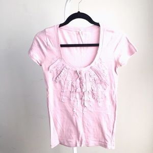 J. Crew Tops - NEW JCrew soft pink cotton t-shirt w floral ruffle