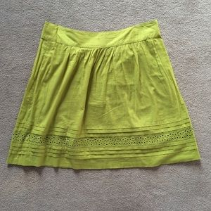 LOFT Lime Green Cotton Skirt
