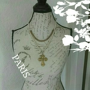 Vintage Gorgeous French Cross Necklace