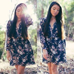 Dresses & Skirts - [Boutique]navy floral wrap dress