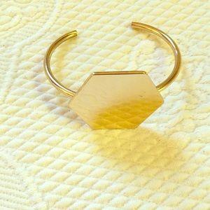 Gold Hexagon Bangle Bracelet