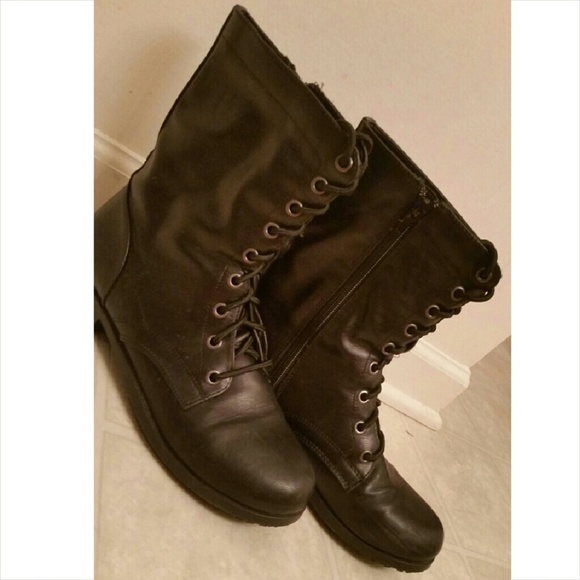 67% off Payless Shoes - Black NON SLIP Combat Boots from Carley's ...