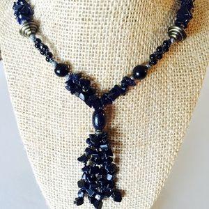 Blue Gold Stone Tassel Necklace
