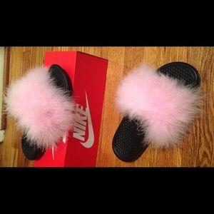 Faux Fur Nike Slides