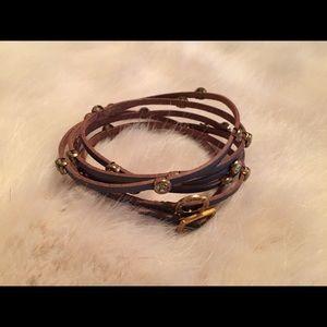 Metallic Grey Leather and Rhinestone Wrap Bracelet