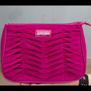 NEW Lancôme Suede Purse Clutch Cosmetic Makeup Bag