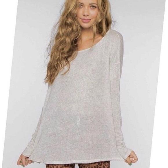 Brandy Melville Sweaters - Brandy Melville open-knit oversized tan sweater 69dc39797