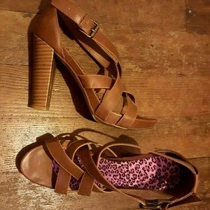 Shoes - Strappy Brown Heels