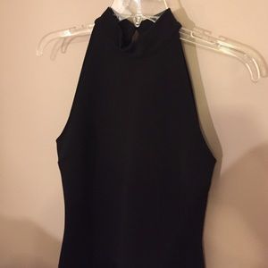 Pins and needles black bodycon open back dress