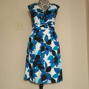 Blue and white multi colored dress