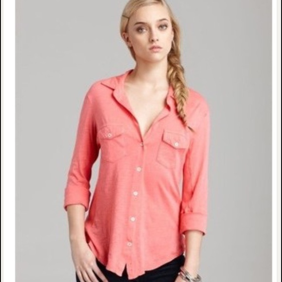 164f17324 James Perse Tops - James Perse coral contrast panel shirt in coral