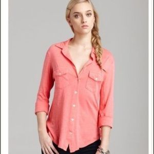 James Perse coral contrast panel shirt in coral