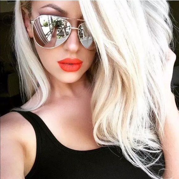 65 Off Accessories Oversized Silver Mirror Aviator From
