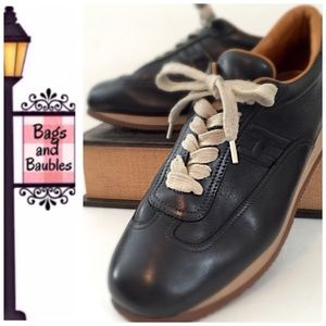 Hermes Shoes - HERMES Black Leather Sneakers, Size 39