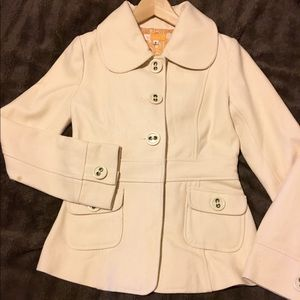 Tulle Cream Wool Coat Size Small