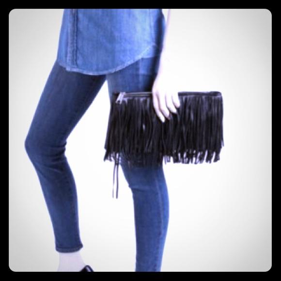 67a4183045d5 Rebecca Minkoff Finn Large Clutch Fringe Bag NWT