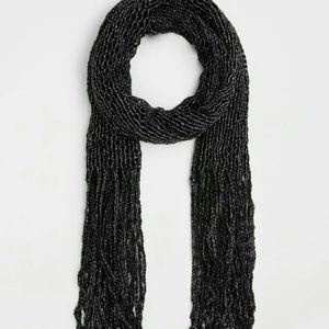 Black Metallic Open-knit Scarf