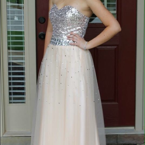 Dresses Champagne Color Prom Dress W Sequins Poshmark