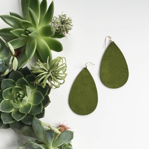 Nickel Suede Jewelry Nickel Suede Olive Green Suede Earrings