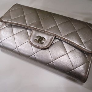 CHANEL Handbags - Chanel Metallic Quilted Flap Trifold Wallet