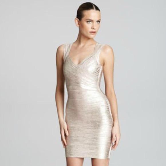 82b8714411c2 REDUCED❗️HERVE LEGER Iman Foil Bandage Dress
