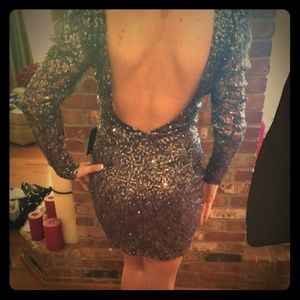 Backless Charcoal sequin dress