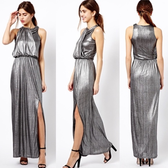 River Island Dresses Silver Maxi Dress Grecian Gown 6 Poshmark