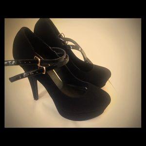 Strapped black heels