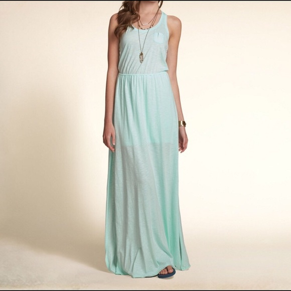 22ad4ac1ef Hollister Dresses | Mint Greenteal Open Back Maxi Dress | Poshmark
