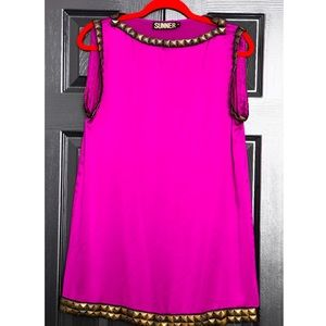 SUNNER Hot Pink Satin Dress/Tunic w/ Copper Studds