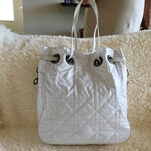 Dior White Quilted Tote