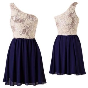 Sale! 78% OFF One Shoulder Navy and cream Dress